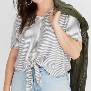 Madewell Novel Tie-Front Top 3X Blue White Stripe
